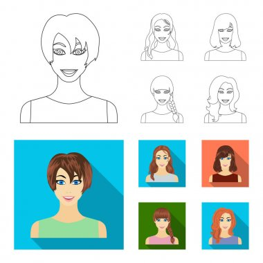 Types of female hairstyles outline,flat icons in set collection for design. Appearance of a woman vector symbol stock web illustration.