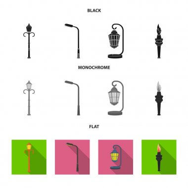 Lamppost in retro style,modern lantern, torch and other types of streetlights. Lamppost set collection icons in black, flat, monochrome style vector symbol stock illustration web.