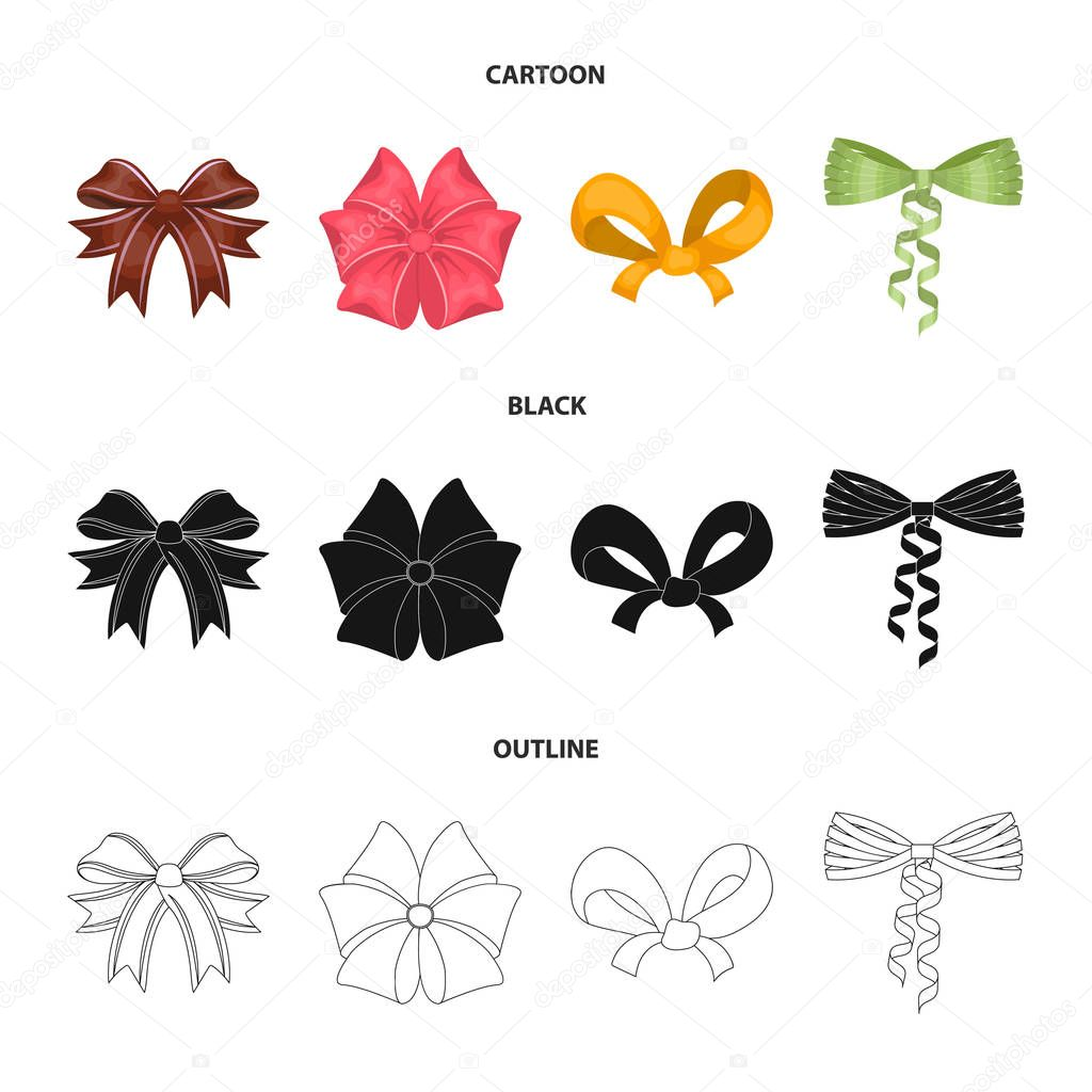 Bow, ribbon, decoration, and other web icon in cartoon,black,outline style. Gift, bows, node, icons in set collection.