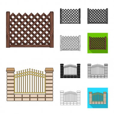 Different fence cartoon,black,flat,monochrome,outline icons in set collection for design.Decorative fencing vector symbol stock web illustration.