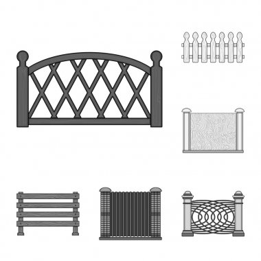 Different fence monochrome icons in set collection for design.Decorative fencing vector symbol stock web illustration.
