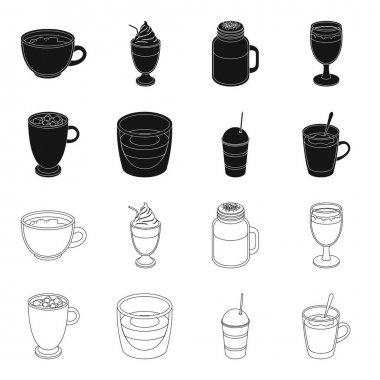 Ristretto, hot chocolate, latte take-away.Different types of coffee set collection icons in black,outline style vector symbol stock illustration web.