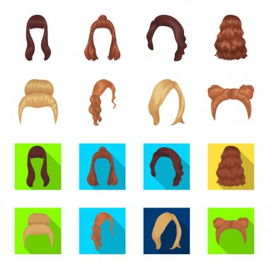 Blond with a bunch, red wavy and other types of hair. Back hair set collection icons in cartoon,flat style vector symbol stock illustration web.
