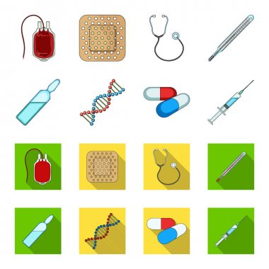 Human DNA and other equipment.Medicine set collection icons in cartoon,flat style vector symbol stock illustration web.