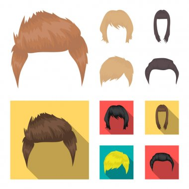 Mustache and beard, hairstyles cartoon,flat icons in set collection for design. Stylish haircut vector symbol stock web illustration.