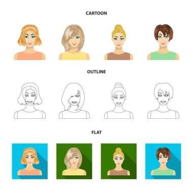 Types of female hairstyles cartoon,outline,flat icons in set collection for design. Appearance of a woman vector symbol stock web illustration.