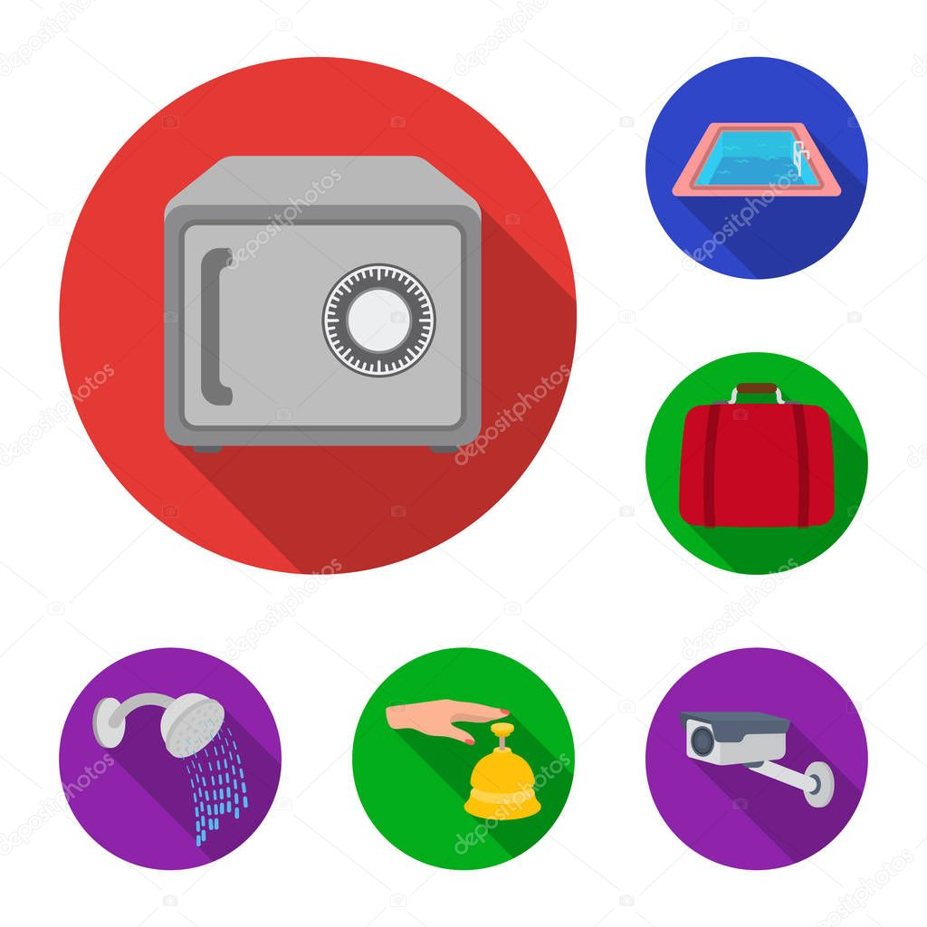 Hotel and equipment flat icons in set collection for design. Hotel and comfort vector symbol stock web illustration.