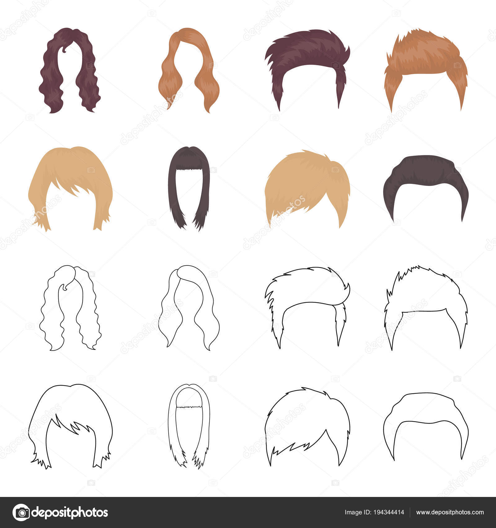 Mustache And Beard Hairstyles Cartoonoutline Icons In Set