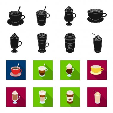 Mocha, macchiato, frappe, take coffee.Different types of coffee set collection icons in black,flet style vector symbol stock illustration web.
