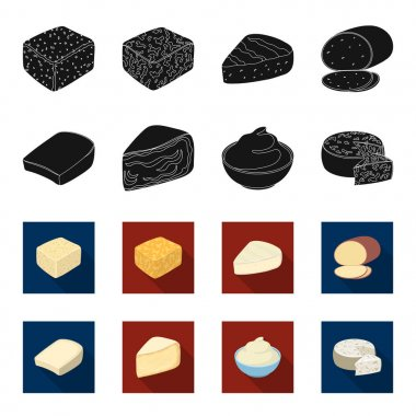 Gruyere, camembert, mascarpone, gorgonzola.Different types of cheese set collection icons in black,flet style vector symbol stock illustration web.