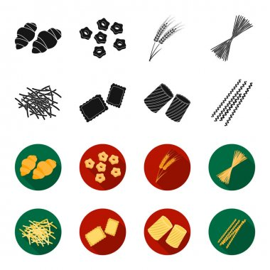Different types of pasta. Types of pasta set collection icons in black,flet style vector symbol stock illustration web.