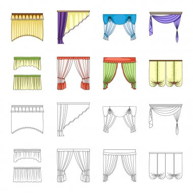 Different types of window curtains.Curtains set collection icons in cartoon,outline style vector symbol stock illustration web.