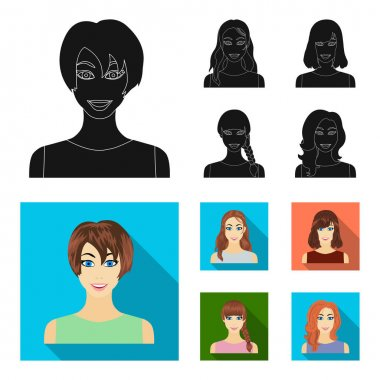 Types of female hairstyles black, flat icons in set collection for design. Appearance of a woman vector symbol stock web illustration.