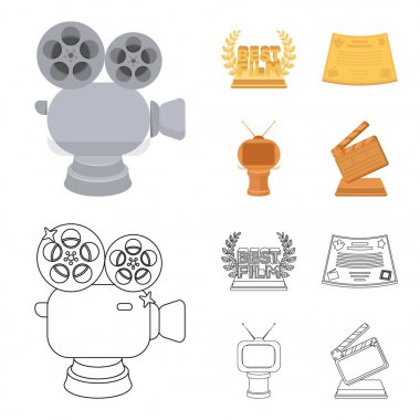 Silver camera. A bronze prize in the form of a TV and other types of prizes.Movie award,sset collection icons in cartoon,outline style vector symbol stock illustration web.