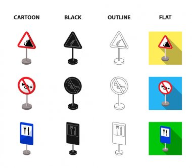 Different types of road signs cartoon,black,outline,flat icons in set collection for design. Warning and prohibition signs vector symbol stock web illustration.