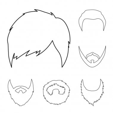Mustache and beard, hairstyles outline icons in set collection for design. Stylish haircut vector symbol stock web illustration.