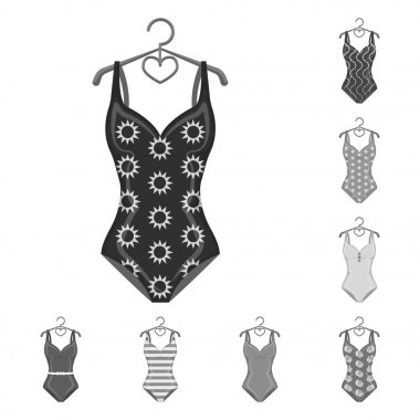 Different types of swimsuits monochrome icons in set collection for design. Swimming accessories vector symbol stock web illustration.