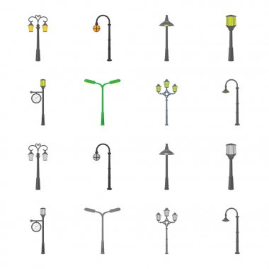 Lamppost in retro style,modern lantern, torch and other types of streetlights. Lamppost set collection icons in cartoon,monochrome style vector symbol stock illustration web.