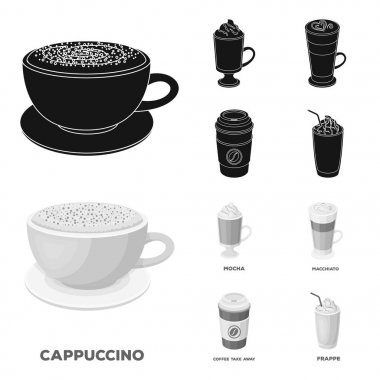 Mocha, macchiato, frappe, take coffee.Different types of coffee set collection icons in black,monochrom style vector symbol stock illustration web.