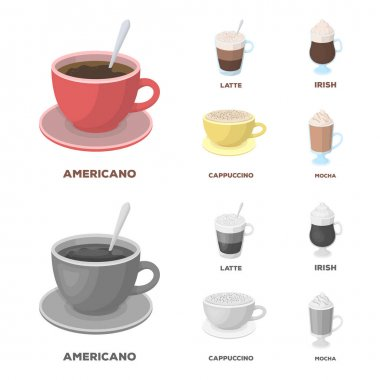 American, late, irish, cappuccino.Different types of coffee set collection icons in cartoon,monochrome style vector symbol stock illustration web.