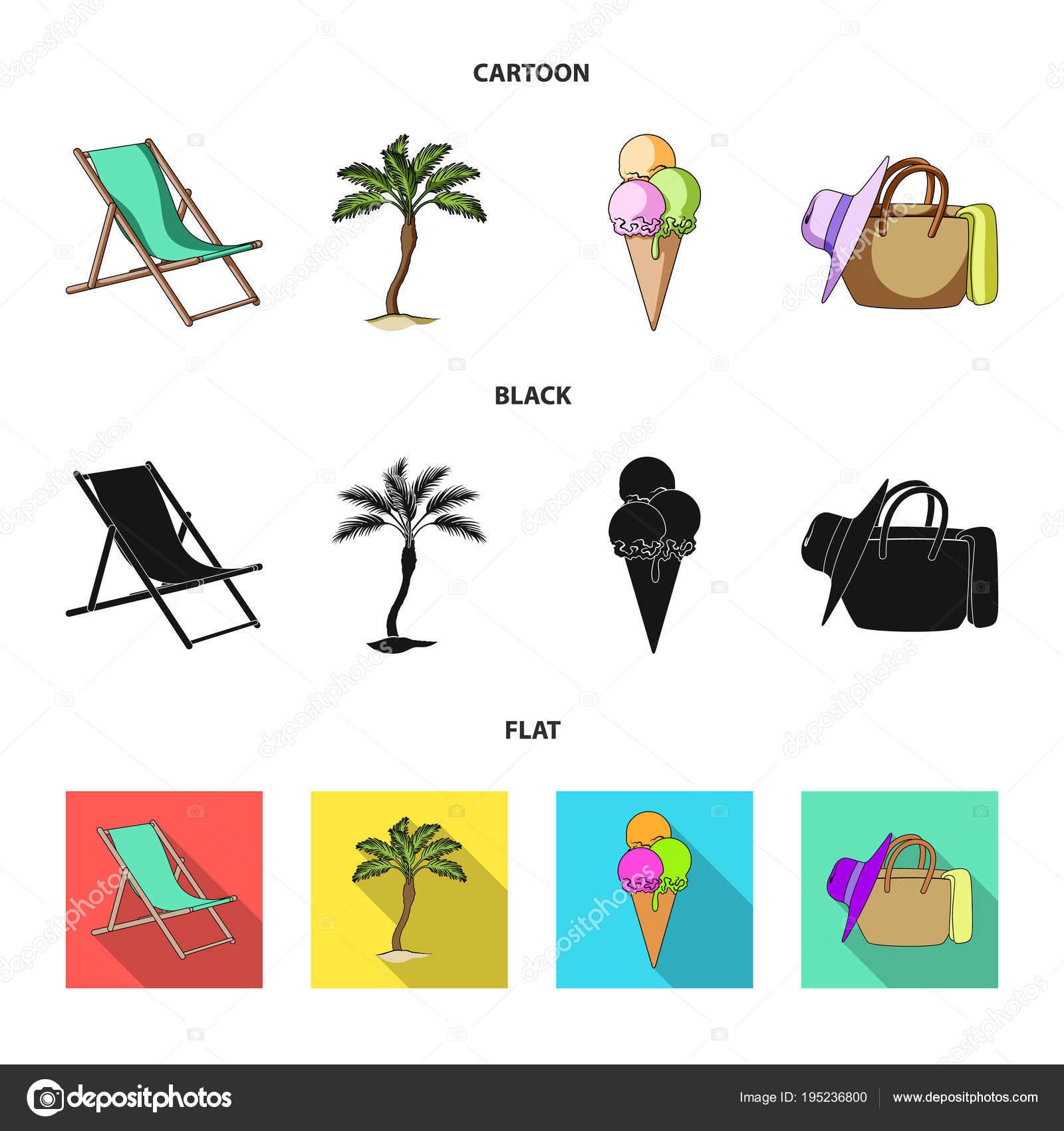 Strand comic schwarz weiß  Strand, Palme, Eis. Sommerurlaub stellen Sammlung Icons im Cartoon ...