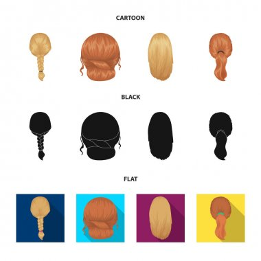 Light braid, fish tail and other types of hairstyles. Back hairstyle set collection icons in cartoon,black,flat style vector symbol stock illustration web.