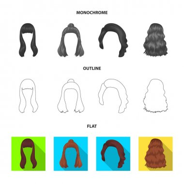 Long, red and other types of hairstyles. Back hairstyle set collection icons in flat,outline,monochrome style vector symbol stock illustration web.