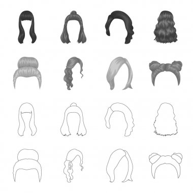 Blond with a bunch, red wavy and other types of hair. Back hair set collection icons in outline,monochrome style vector symbol stock illustration web.