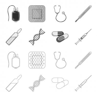 Human DNA and other equipment.Medicine set collection icons in outline,monochrome style vector symbol stock illustration web.