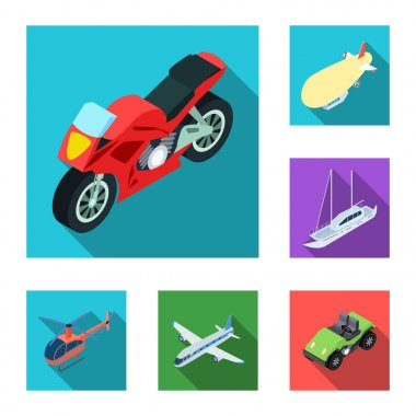 Different types of transport flat icons in set collection for design. Car and ship isometric vector symbol stock web illustration.