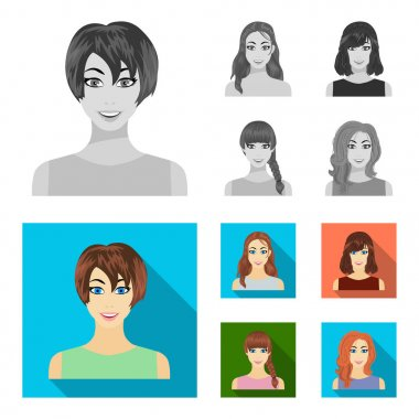 Types of female hairstyles monochrome,flat icons in set collection for design. Appearance of a woman vector symbol stock web illustration.