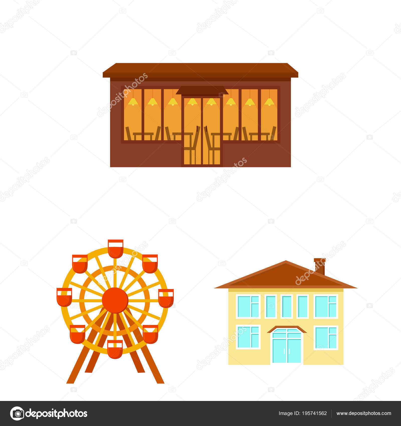 Building And Architecture Cartoon Icons In Set Collection For Design.  Construction And Institution Vector Symbol Stock Illustration. U2014 Vector By  PandaVector