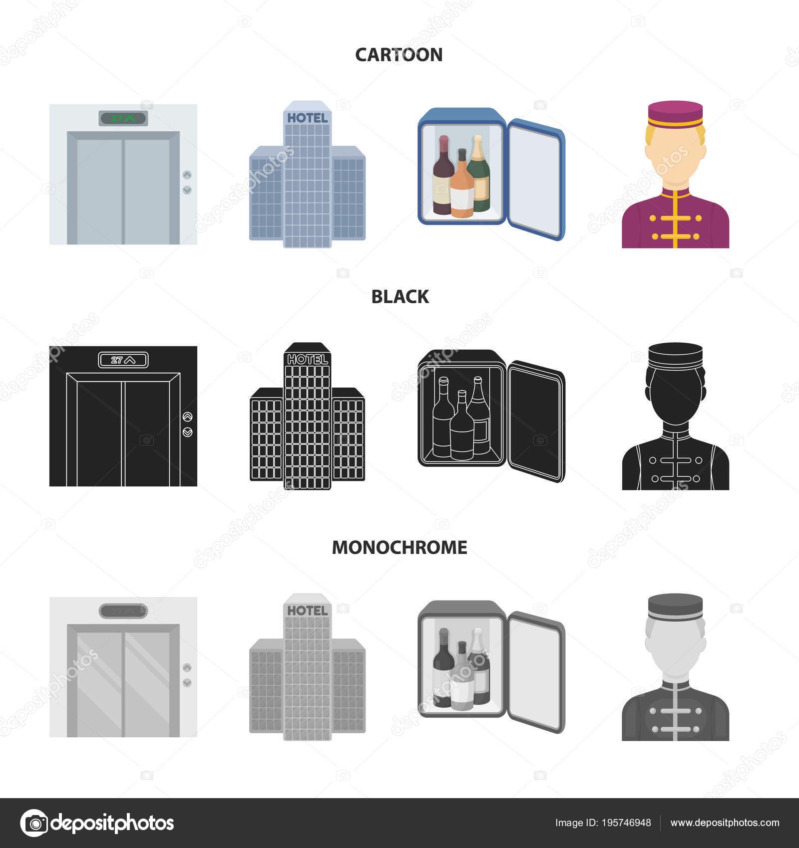Asansör kabini, Bina personel bar, mini. Otel çizgi film, siyah, tek ...