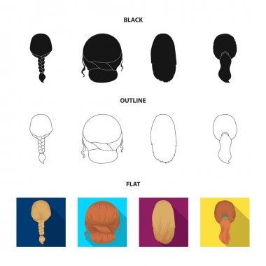 Light braid, fish tail and other types of hairstyles. Back hairstyle set collection icons in black,flat,outline style vector symbol stock illustration web.