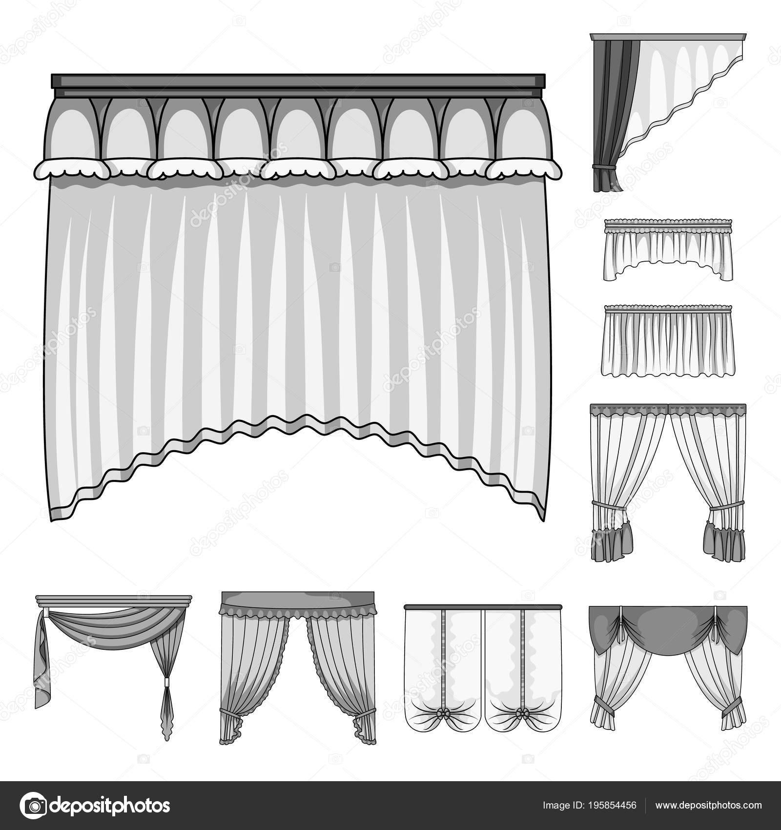 Verschillende soorten gordijnen zwart-wit pictogrammen in set ...