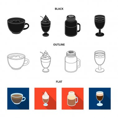 Esprecco, glase, milk shake, bicerin.Different types of coffee set collection icons in black,flat,outline style vector symbol stock illustration web.