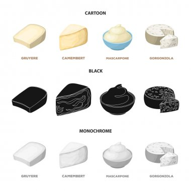 Gruyere, camembert, mascarpone, gorgonzola.Different types of cheese set collection icons in cartoon,black,monochrome style vector symbol stock illustration web.
