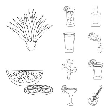 Vector design of Mexico and tequila sign. Collection of Mexico and fiesta vector icon for stock. icon