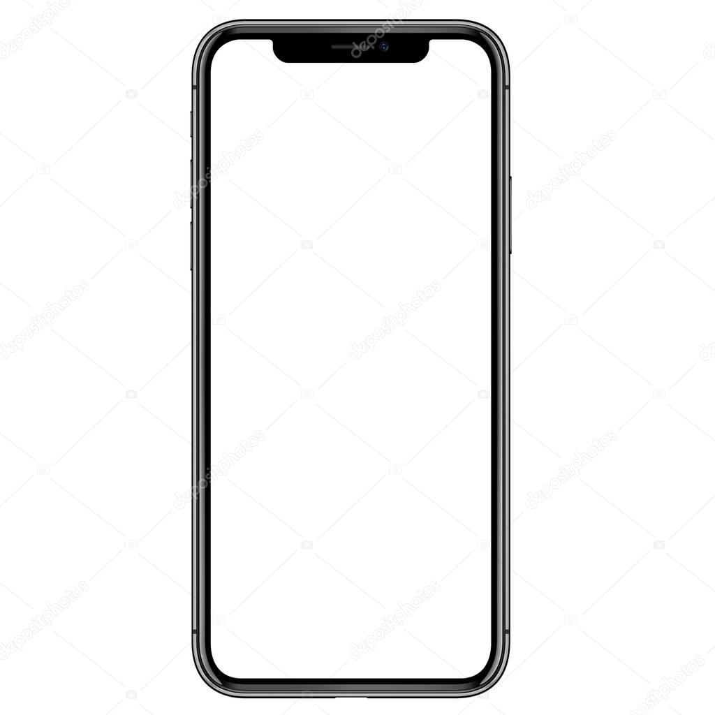 high detail phone front side vector drawing eps10 format isolated on white background