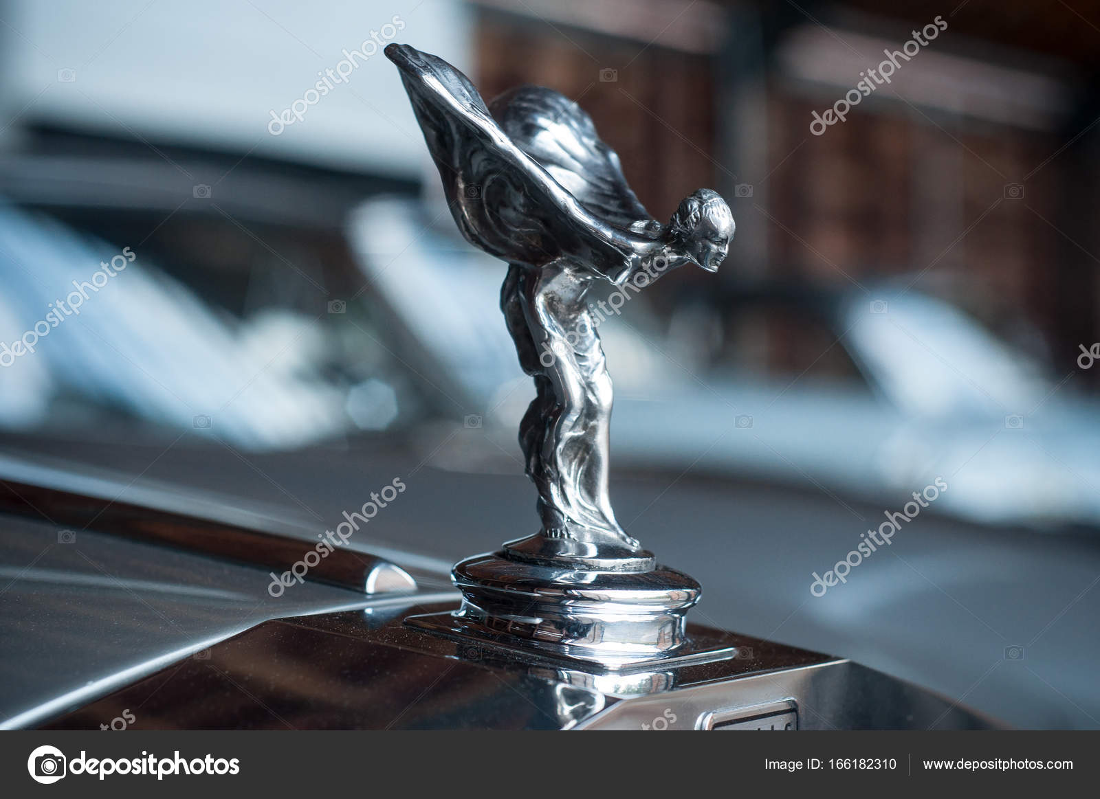 closeup of rolls royce logo on car – stock editorial photo