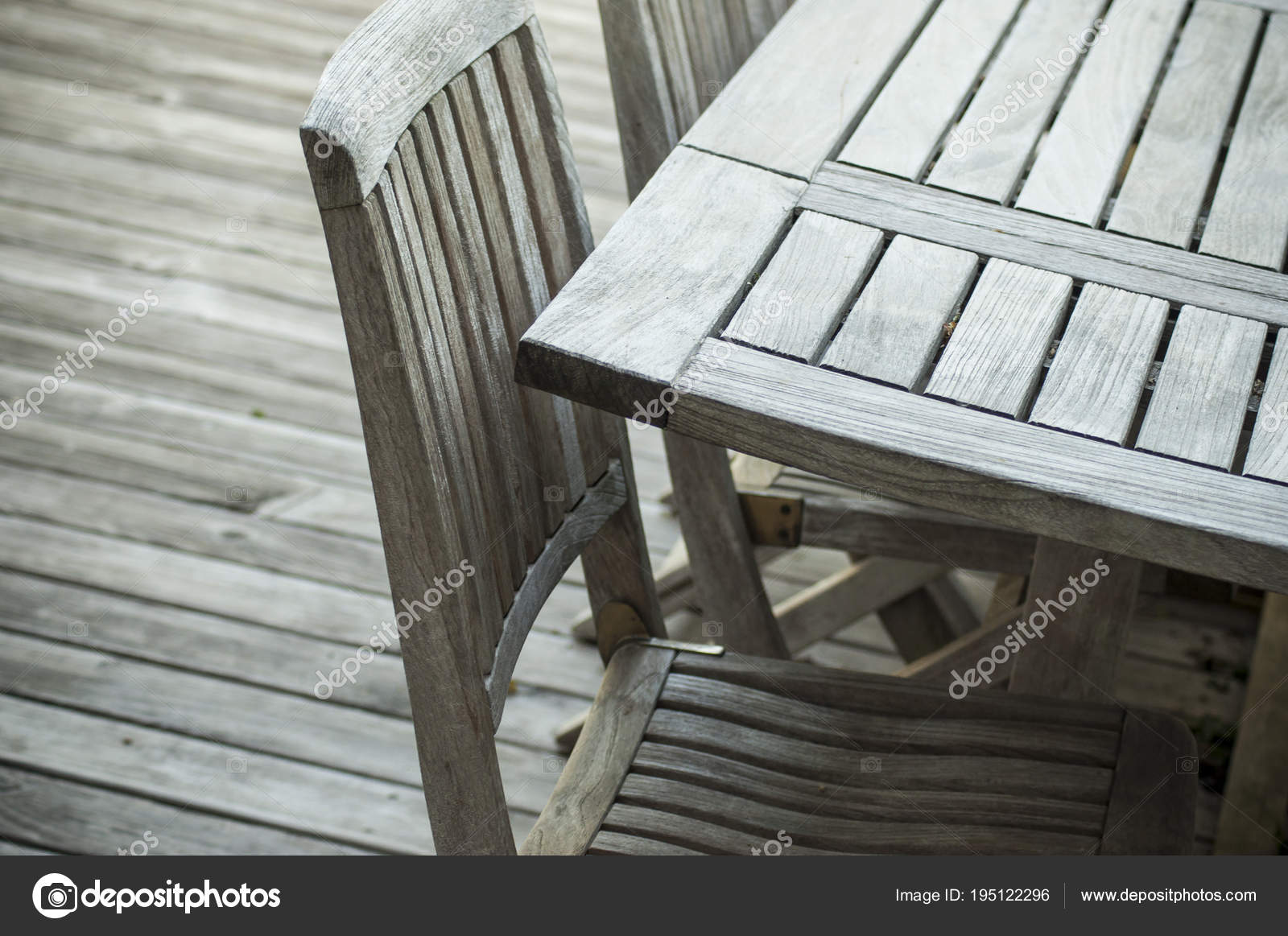 Sensational Closeup Teak Garden Furniture Wooden Terrace Spring Stock Ocoug Best Dining Table And Chair Ideas Images Ocougorg