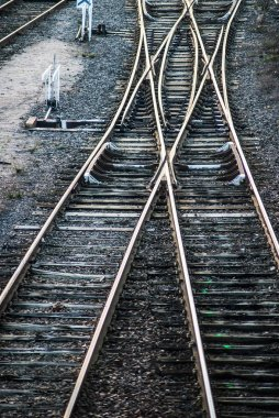 Closeup of railways crossing in the train station on top view