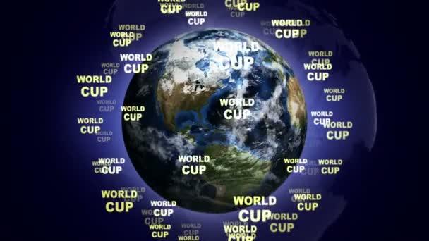 Světový pohár Text animace a země, smyčky, 4k
