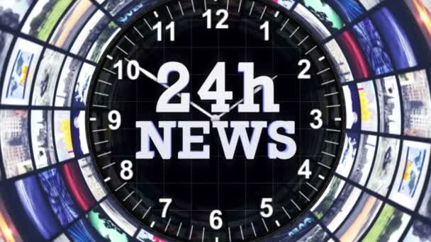 24h NEWS Text Animation in Monitors Tunnel, Rendering, Background, Zoom  Camera, 4k