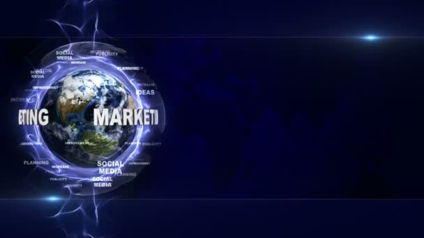 MARKETING Text and Earth, with Keywords, Animation, Rendering, Background, Loop, 4k