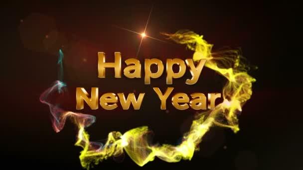 Šťastný nový rok Text v částice, smyčky, 4k