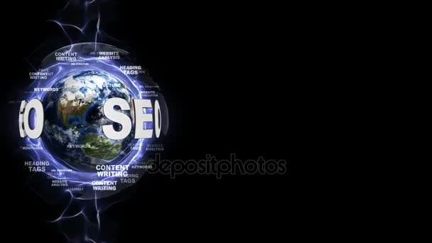 SEO Text Around the World, with Keywords Texts Animation, Rendering, Background, Loop, 4k