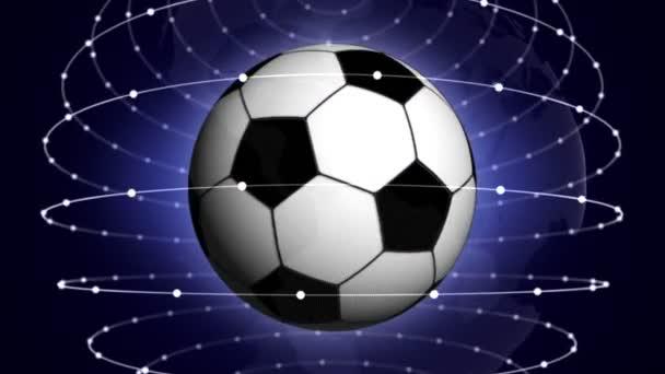 Futball-labda kék absztrakt részecskék gyűrűk, animáció, Rendering, háttér, hurok, 4k