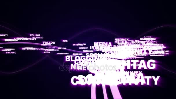 Social Network Keywords, Animation, Rendering, Background, Loop, 4k