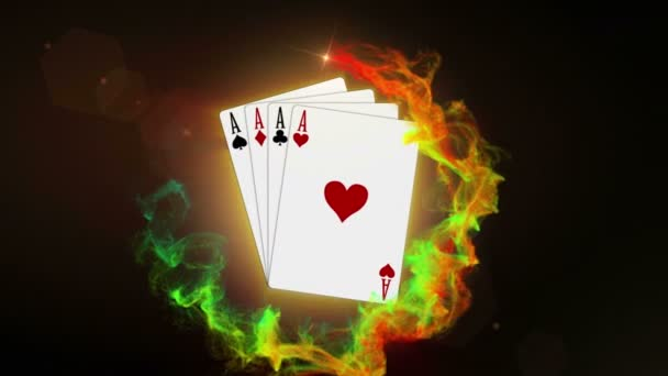 Four Aces, Poker Card Rendering, Animation, Background, Loop, 4k